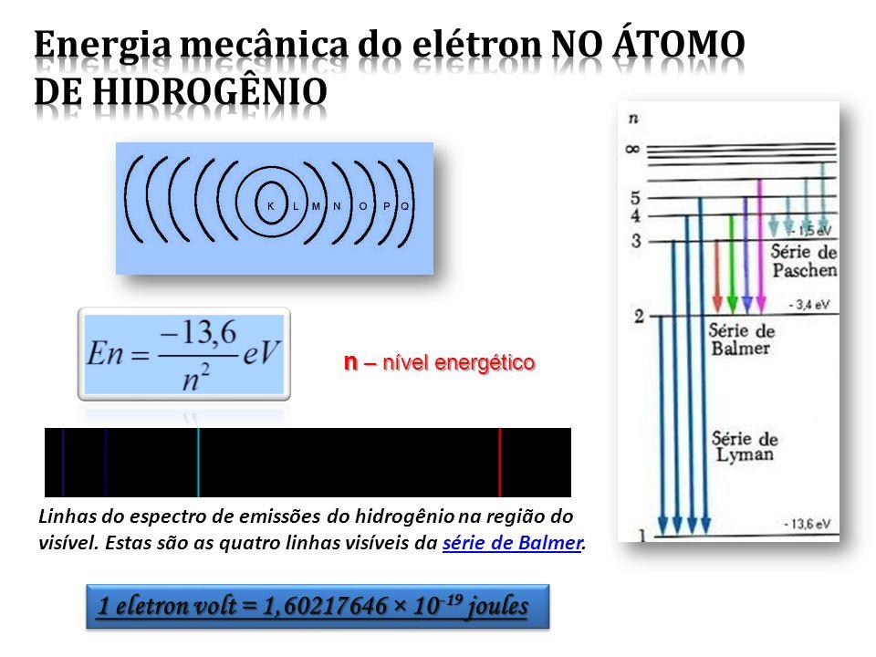 1 eletron volt = 1,60217646 × 10 -19 joules Linhas do espectro de emissões do hidrogênio na região do visível.