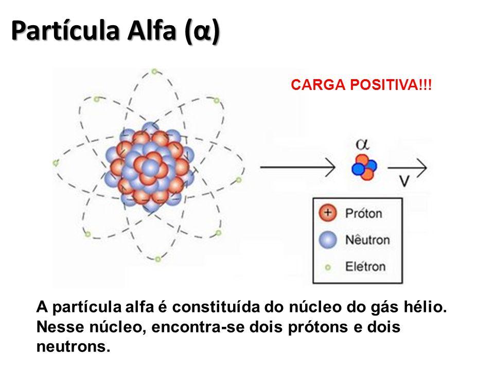 Partícula Alfa (α) A partícula alfa é constituída do núcleo do gás hélio.