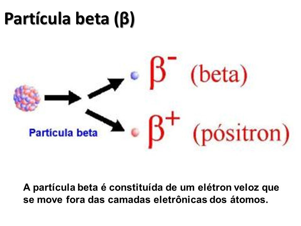 Partícula beta (β) A partícula beta é constituída de um elétron veloz que se move fora das camadas eletrônicas dos átomos.