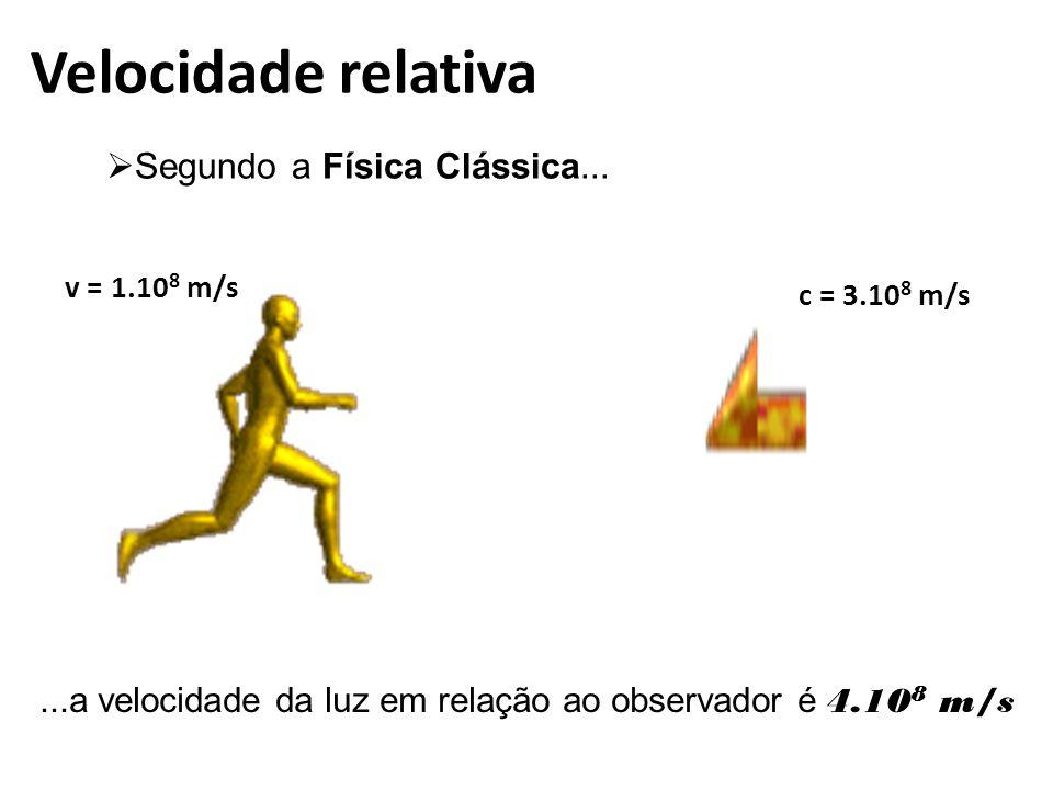Velocidade relativa  Segundo a Física Clássica...
