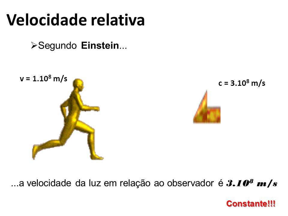 Velocidade relativa  Segundo Einstein...