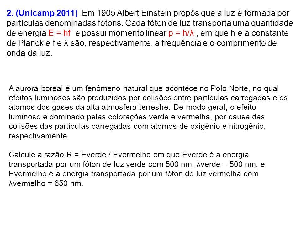 2. (Unicamp 2011) Em 1905 Albert Einstein propôs que a luz é formada por partículas denominadas fótons. Cada fóton de luz transporta uma quantidade de