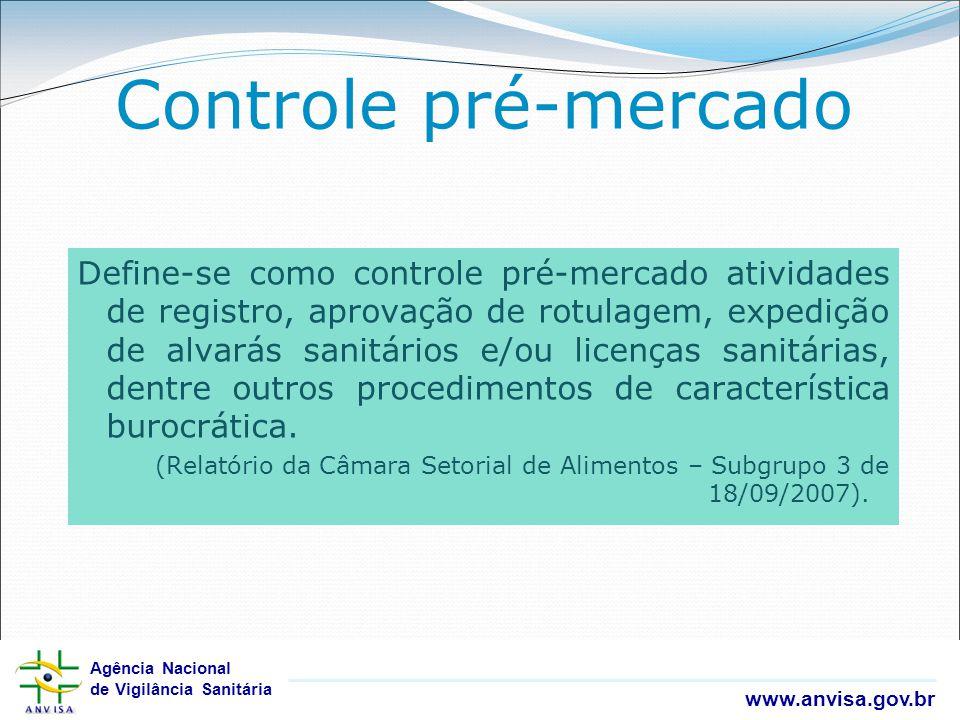 Agência Nacional de Vigilância Sanitária www.anvisa.gov.br Agência Nacional de Vigilância Sanitária www.anvisa.gov.br Controle pré-mercado Define-se c