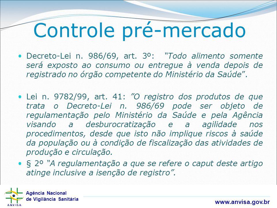 Agência Nacional de Vigilância Sanitária www.anvisa.gov.br Agência Nacional de Vigilância Sanitária www.anvisa.gov.br Decreto-Lei n. 986/69, art. 3º: