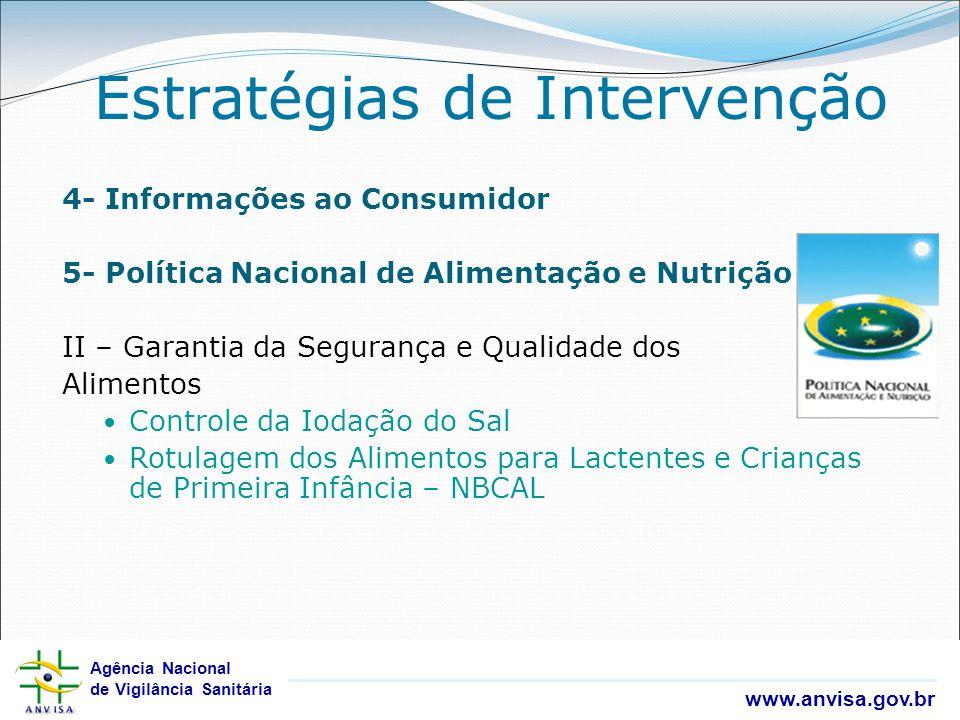 Agência Nacional de Vigilância Sanitária www.anvisa.gov.br Agência Nacional de Vigilância Sanitária www.anvisa.gov.br 4- Informações ao Consumidor 5-