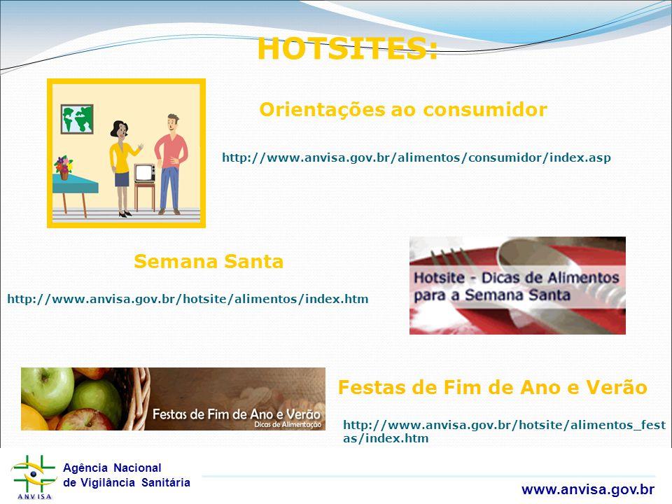 Agência Nacional de Vigilância Sanitária www.anvisa.gov.br Agência Nacional de Vigilância Sanitária www.anvisa.gov.br HOTSITES: http://www.anvisa.gov.