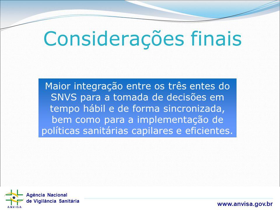 Agência Nacional de Vigilância Sanitária www.anvisa.gov.br Agência Nacional de Vigilância Sanitária www.anvisa.gov.br Maior integração entre os três e