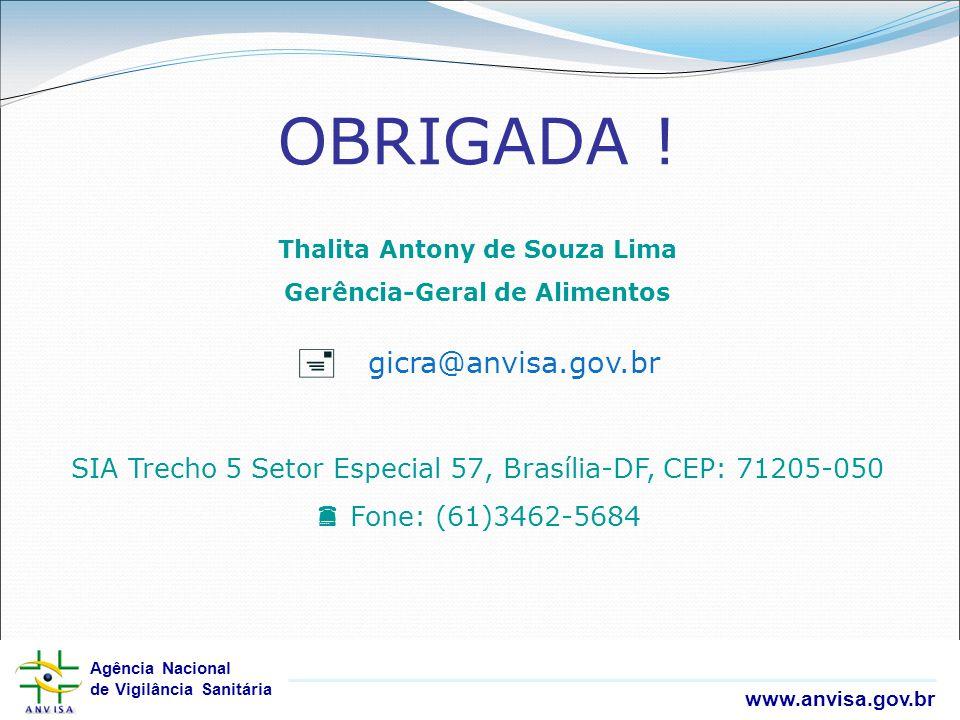 Agência Nacional de Vigilância Sanitária www.anvisa.gov.br Agência Nacional de Vigilância Sanitária www.anvisa.gov.br OBRIGADA ! Thalita Antony de Sou
