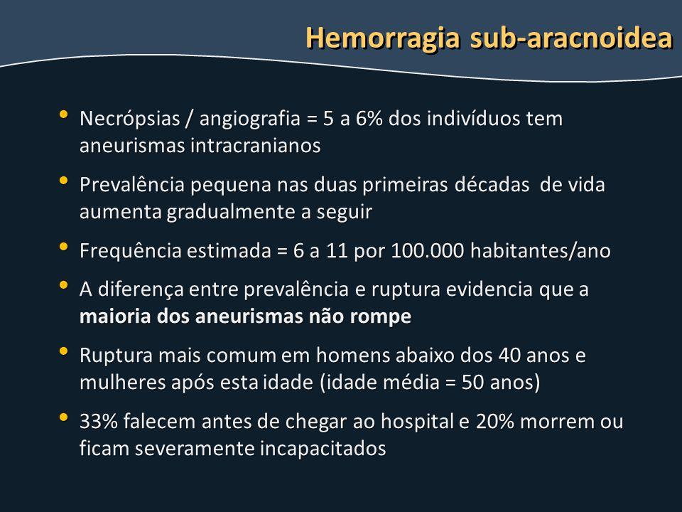 Necrópsias / angiografia = 5 a 6% dos indivíduos tem aneurismas intracranianos Necrópsias / angiografia = 5 a 6% dos indivíduos tem aneurismas intracr
