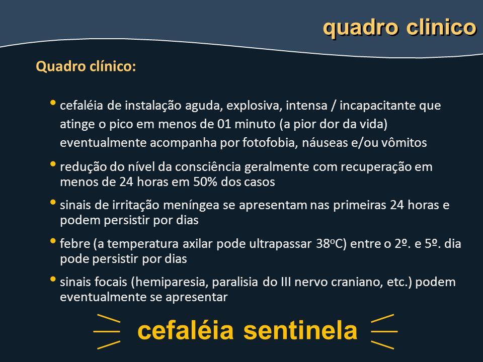 Quadro clínico: cefaléia de instalação aguda, explosiva, intensa / incapacitante que atinge o pico em menos de 01 minuto (a pior dor da vida) eventual