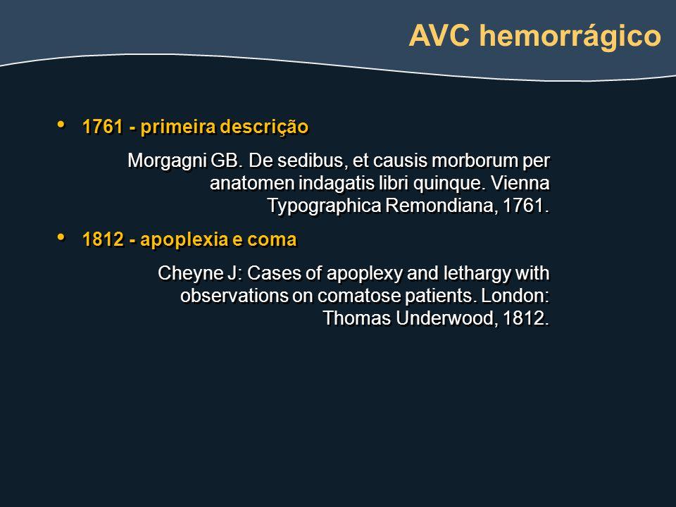 1761 - primeira descrição Morgagni GB. De sedibus, et causis morborum per anatomen indagatis libri quinque. Vienna Typographica Remondiana, 1761. 1812