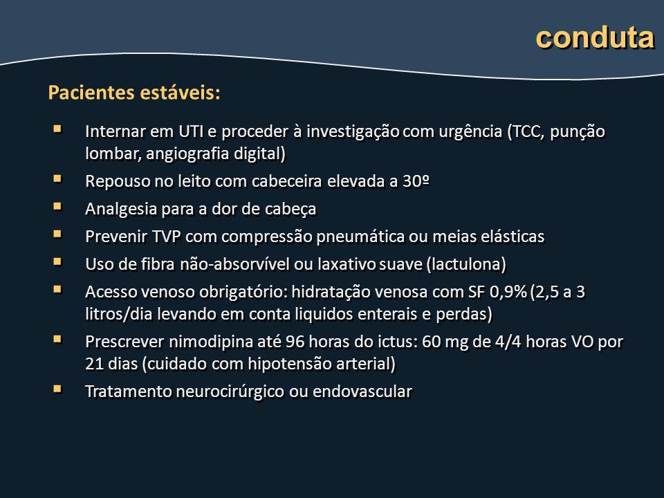   Internar em UTI e proceder à investigação com urgência (TCC, punção lombar, angiografia digital)   Repouso no leito com cabeceira elevada a 30º