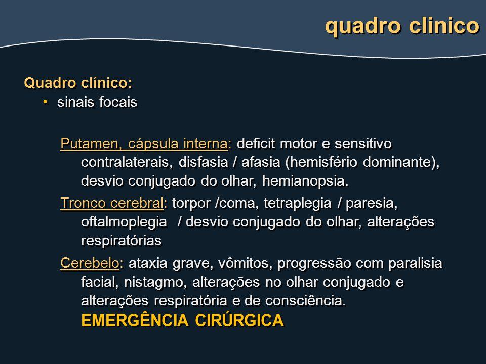 Quadro clínico: sinais focais Putamen, cápsula interna: deficit motor e sensitivo contralaterais, disfasia / afasia (hemisfério dominante), desvio con