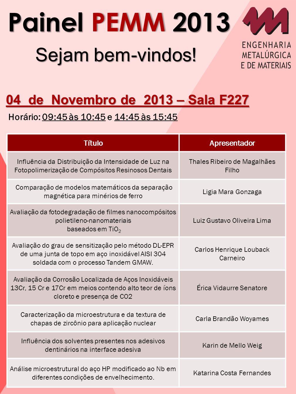Painel PEMM 2013 Sejam bem-vindos! 04 de Novembro de 2013 – Sala F227 Horário: 09:45 às 10:45 e 14:45 às 15:45 TítuloApresentador Influência da Distri