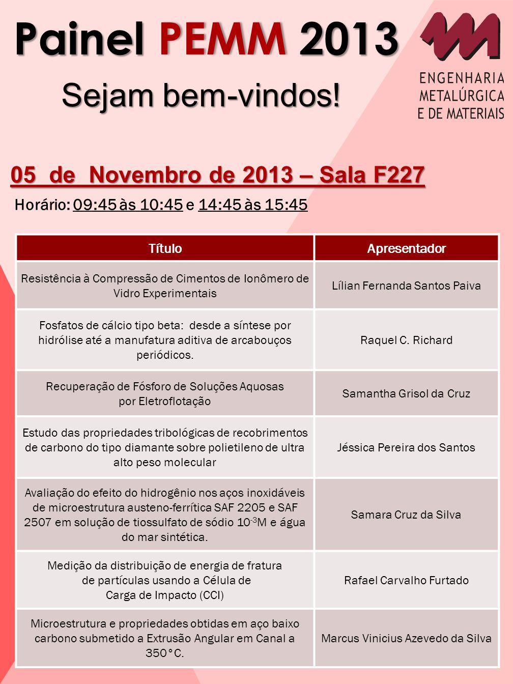 Painel PEMM 2013 Sejam bem-vindos! 05 de Novembro de 2013 – Sala F227 Horário: 09:45 às 10:45 e 14:45 às 15:45 TítuloApresentador Resistência à Compre