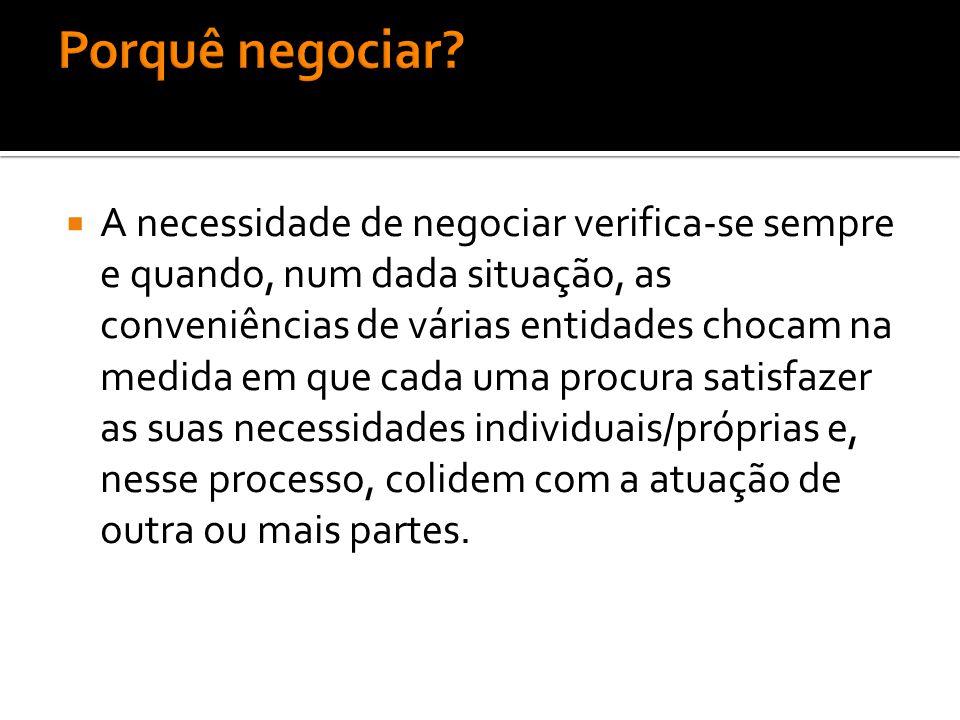  A necessidade de negociar verifica-se sempre e quando, num dada situação, as conveniências de várias entidades chocam na medida em que cada uma proc