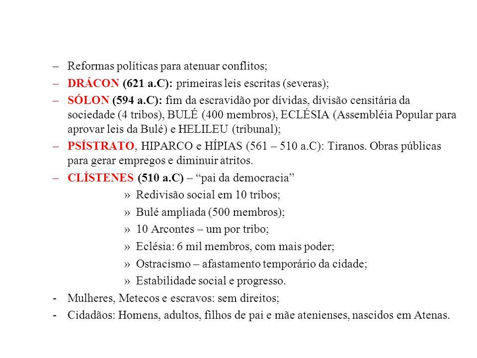–Reformas políticas para atenuar conflitos; –DRÁCON (621 a.C): primeiras leis escritas (severas); –SÓLON (594 a.C): fim da escravidão por dívidas, div
