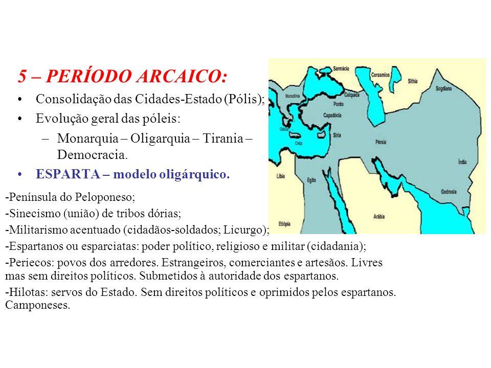 5 – PERÍODO ARCAICO: Consolidação das Cidades-Estado (Pólis); Evolução geral das póleis: –Monarquia – Oligarquia – Tirania – Democracia. ESPARTA – mod