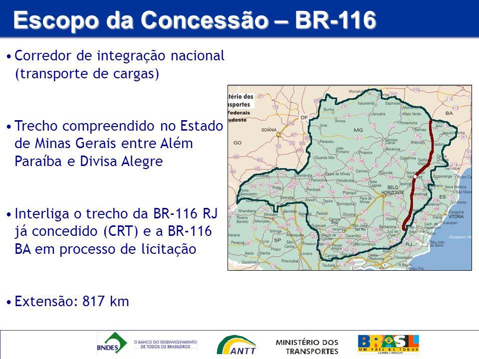 Corredor de integração nacional (transporte de cargas) Trecho compreendido no Estado de Minas Gerais entre Além Paraíba e Divisa Alegre Interliga o tr
