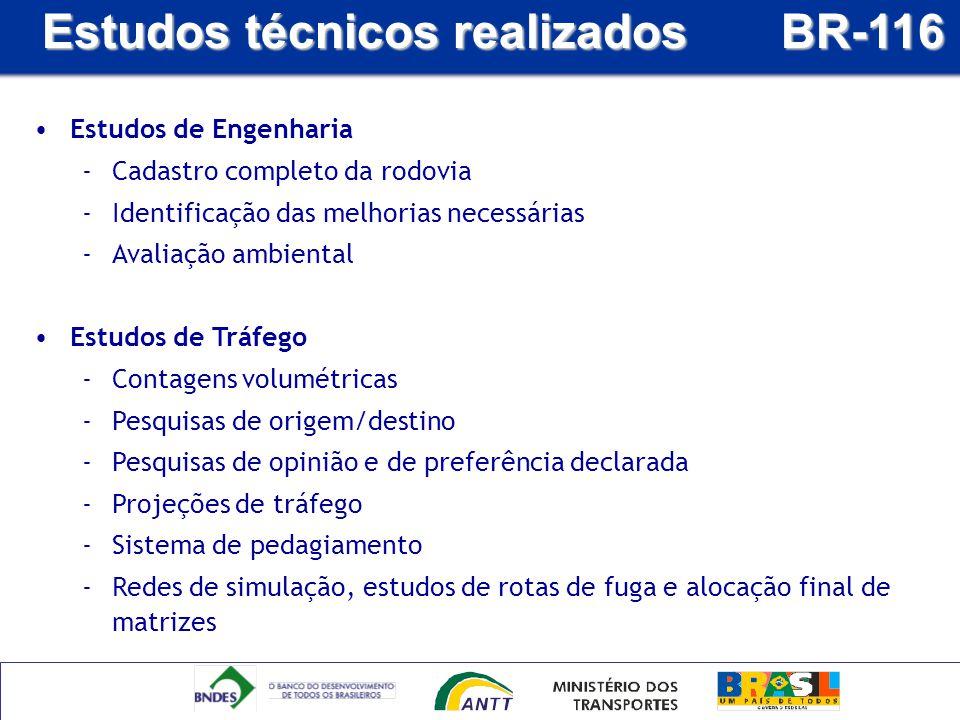 Estudos técnicos realizados BR-116 Estudos de Engenharia -Cadastro completo da rodovia -Identificação das melhorias necessárias -Avaliação ambiental E