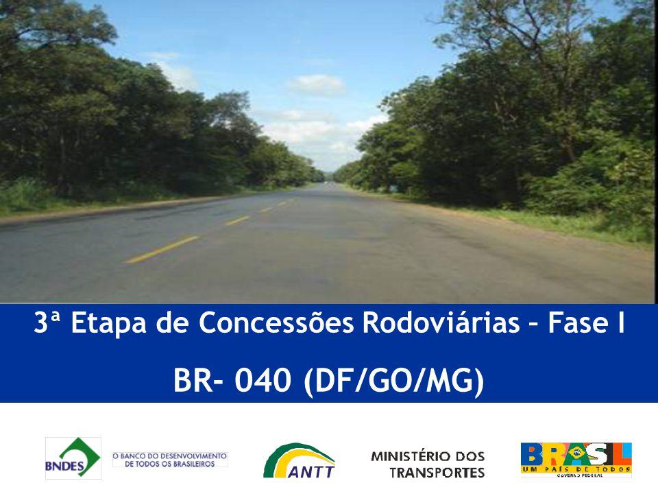 RESULTADOS : Investimentos e melhorias BR 040 2) Subtrechos de pista dupla precisarão de faixas adicionais quando atingirem os seguintes volumes diário médio (VDM): Subtrecho Km Extensão DeParaVDM inicial final(km) 1 a8,40 BrasíliaDivisa DF/GO 39.100 b024,1 Divisa DF/GOLuziânia 11 473,1508,935,8Sete LagoasMG 43252.000 12 508,9532,924MG 432Anel Viário BH45.400 13 532,9543,510,6Anel Viário 60.700 14 543,5563,620,1Anel ViárioBR 35669.000 15 a563,6597,634BR 356MG 442 39.700 b597,6629,531,9MG 442Cons Lafaiete 16 629,5700,571Cons LafaieteBarbacena42.700 17 700,5745,545Barbacena Santos Dumont41.500 18 745,5771,125,6 Santos DumontJuiz de Fora42.300