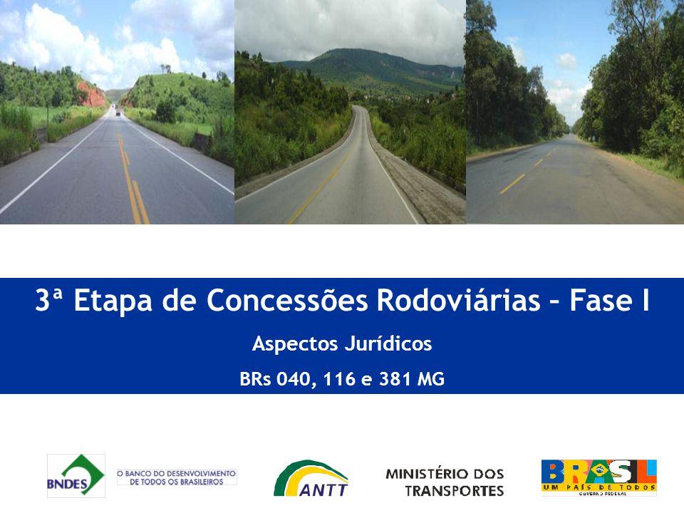 3ª Etapa de Concessões Rodoviárias – Fase I Aspectos Jurídicos BRs 040, 116 e 381 MG
