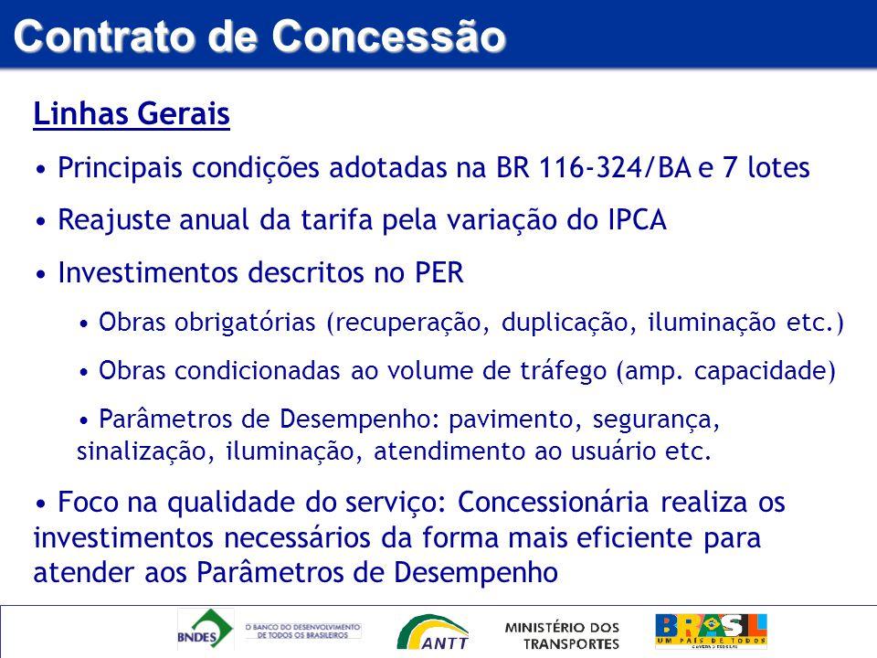 Linhas Gerais Principais condições adotadas na BR 116-324/BA e 7 lotes Reajuste anual da tarifa pela variação do IPCA Investimentos descritos no PER O
