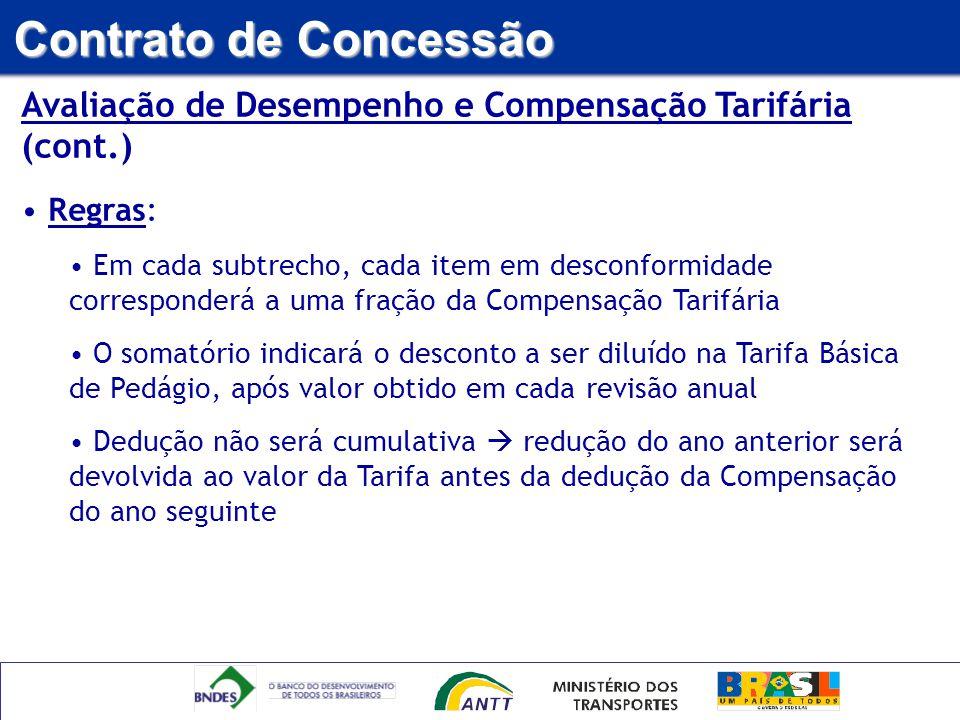 Avaliação de Desempenho e Compensação Tarifária (cont.) Regras: Em cada subtrecho, cada item em desconformidade corresponderá a uma fração da Compensa