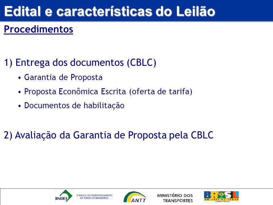 Edital e características do Leilão Procedimentos 1) Entrega dos documentos (CBLC) Garantia de Proposta Proposta Econômica Escrita (oferta de tarifa) D