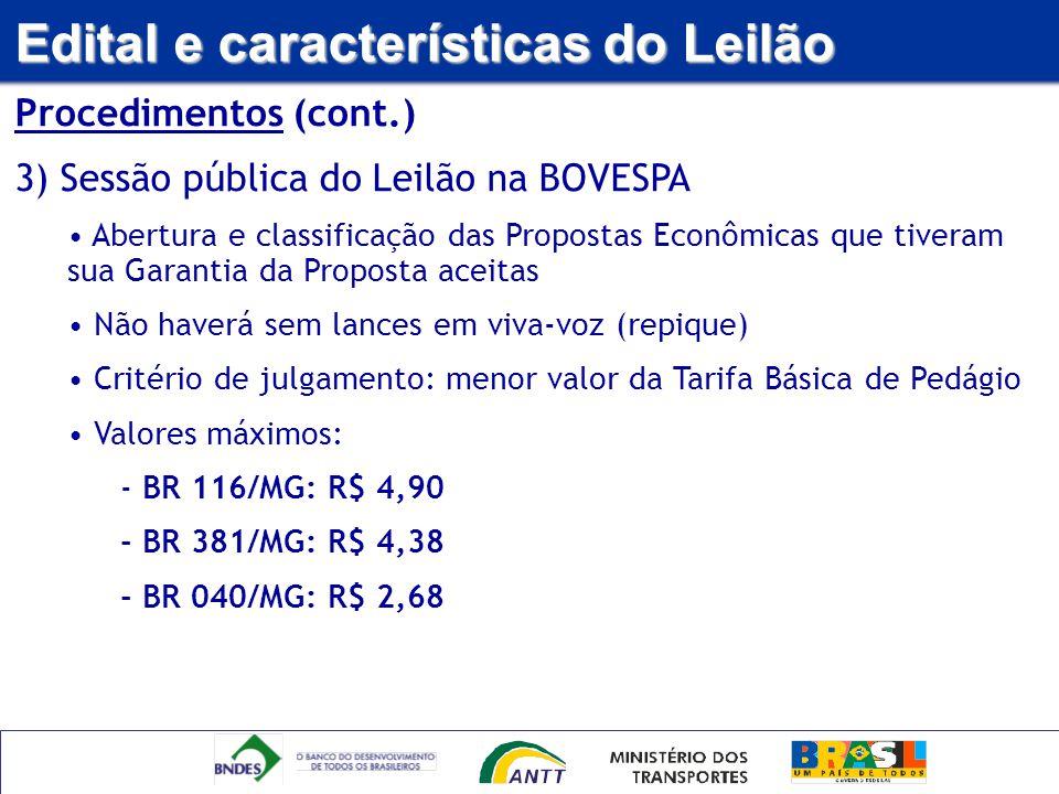 Edital e características do Leilão Procedimentos (cont.) 3) Sessão pública do Leilão na BOVESPA Abertura e classificação das Propostas Econômicas que