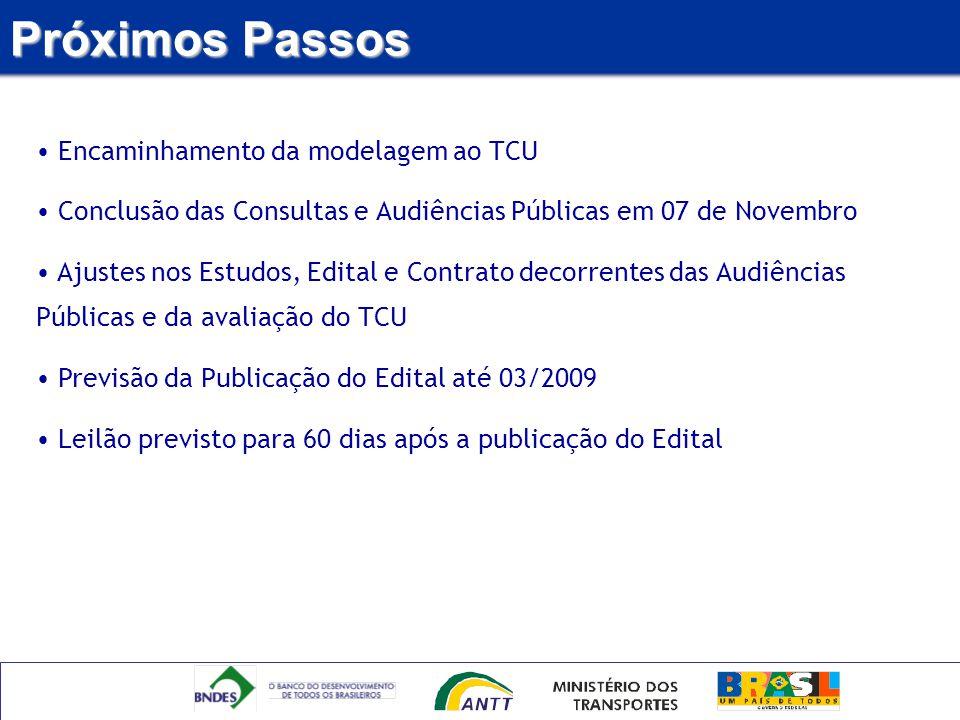 Próximos Passos Encaminhamento da modelagem ao TCU Conclusão das Consultas e Audiências Públicas em 07 de Novembro Ajustes nos Estudos, Edital e Contr
