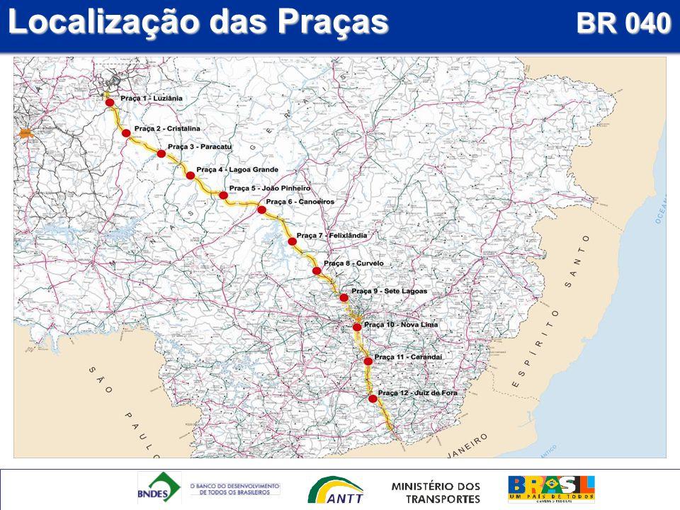 Localização das Praças BR 040