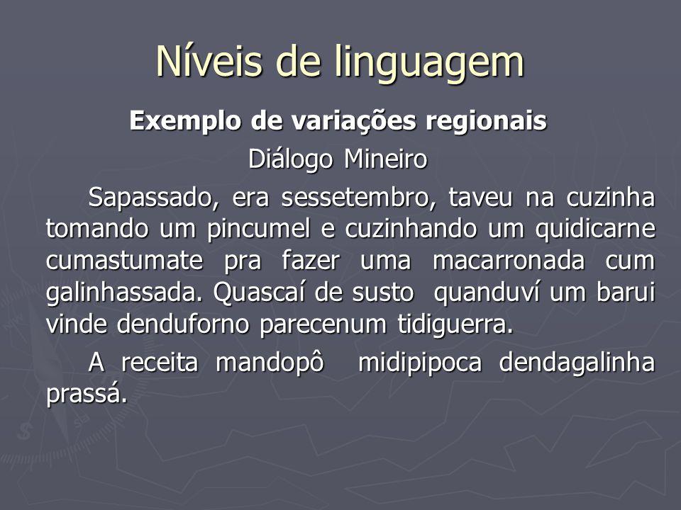 Níveis de linguagem Exemplo de variações regionais Diálogo Mineiro Sapassado, era sessetembro, taveu na cuzinha tomando um pincumel e cuzinhando um qu