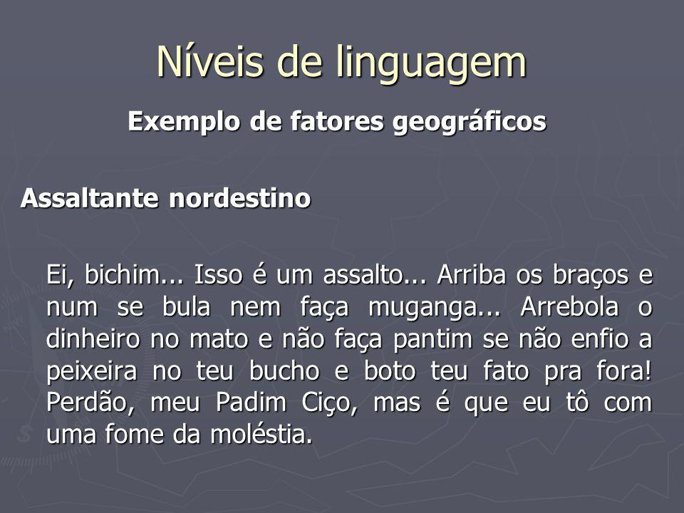 Níveis de linguagem Exemplo de fatores geográficos Assaltante nordestino Ei, bichim...