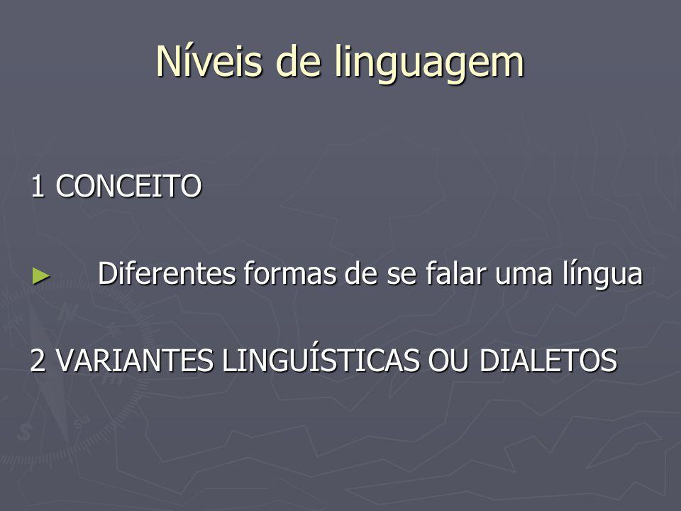 Níveis de linguagem 1 CONCEITO ► Diferentes formas de se falar uma língua 2 VARIANTES LINGUÍSTICAS OU DIALETOS