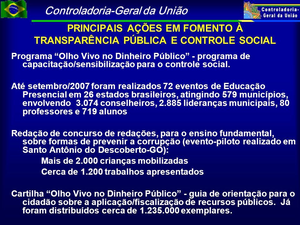 """Controladoria-Geral da União Programa """"Olho Vivo no Dinheiro Público"""" - programa de capacitação/sensibilização para o controle social. Até setembro/20"""