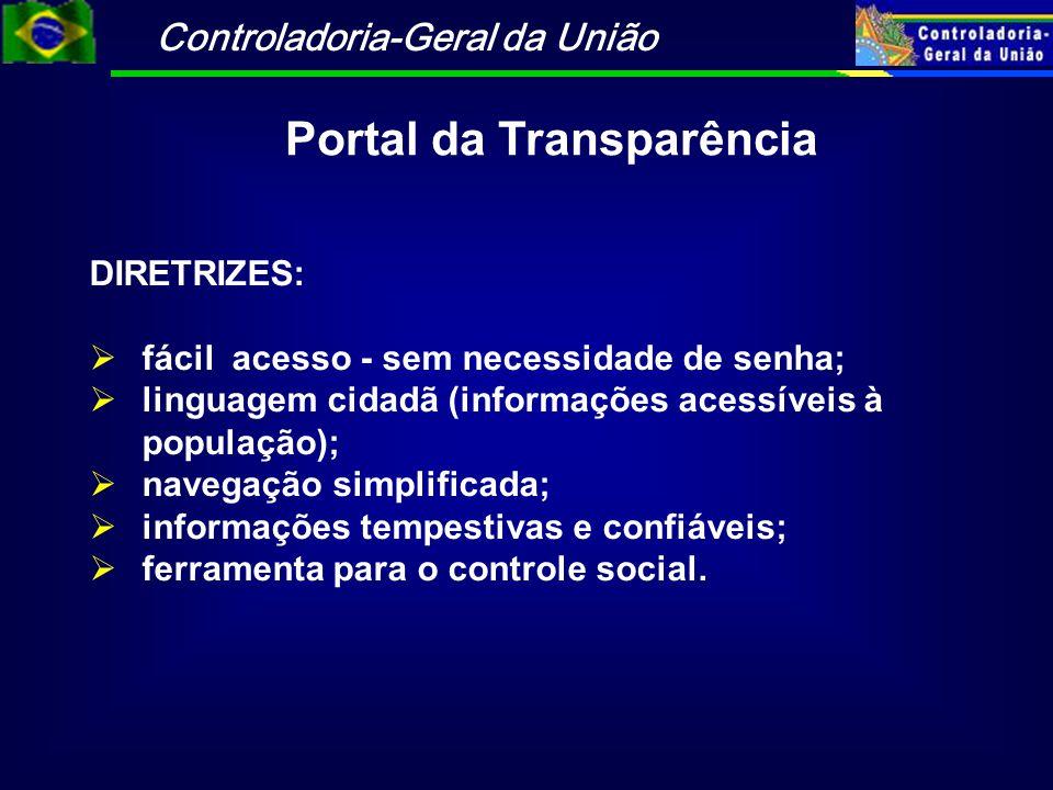 Controladoria-Geral da União Portal da Transparência DIRETRIZES:  fácil acesso - sem necessidade de senha;  linguagem cidadã (informações acessíveis