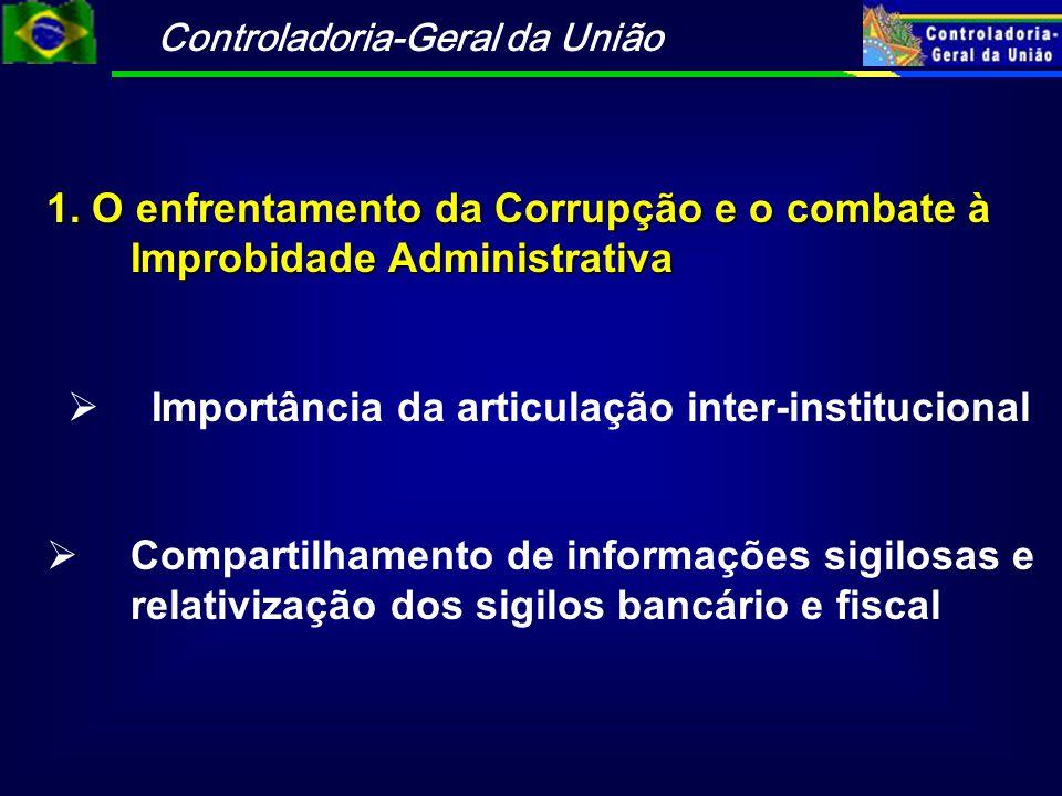 Controladoria-Geral da União 1. O enfrentamento da Corrupção e o combate à Improbidade Administrativa  Importância da articulação inter-institucional