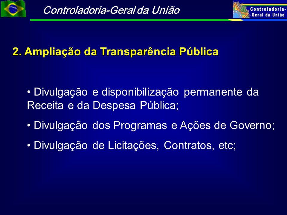 Controladoria-Geral da União 2. Ampliação da Transparência Pública Divulgação e disponibilização permanente da Receita e da Despesa Pública; Divulgaçã