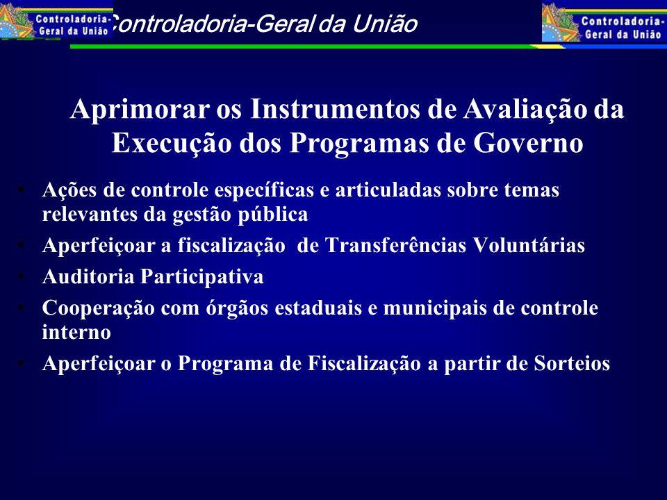 Controladoria-Geral da União Ações de controle específicas e articuladas sobre temas relevantes da gestão pública Aperfeiçoar a fiscalização de Transf