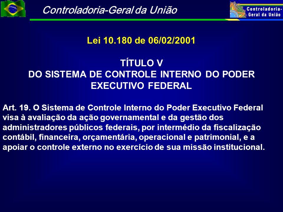 Controladoria-Geral da União Lei 10.180 de 06/02/2001 TÍTULO V DO SISTEMA DE CONTROLE INTERNO DO PODER EXECUTIVO FEDERAL Art. 19. O Sistema de Control