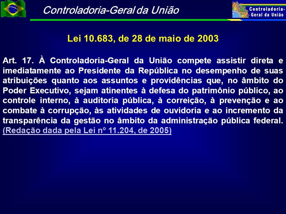 Controladoria-Geral da União Lei 10.683, de 28 de maio de 2003 Art. 17. À Controladoria-Geral da União compete assistir direta e imediatamente ao Pres