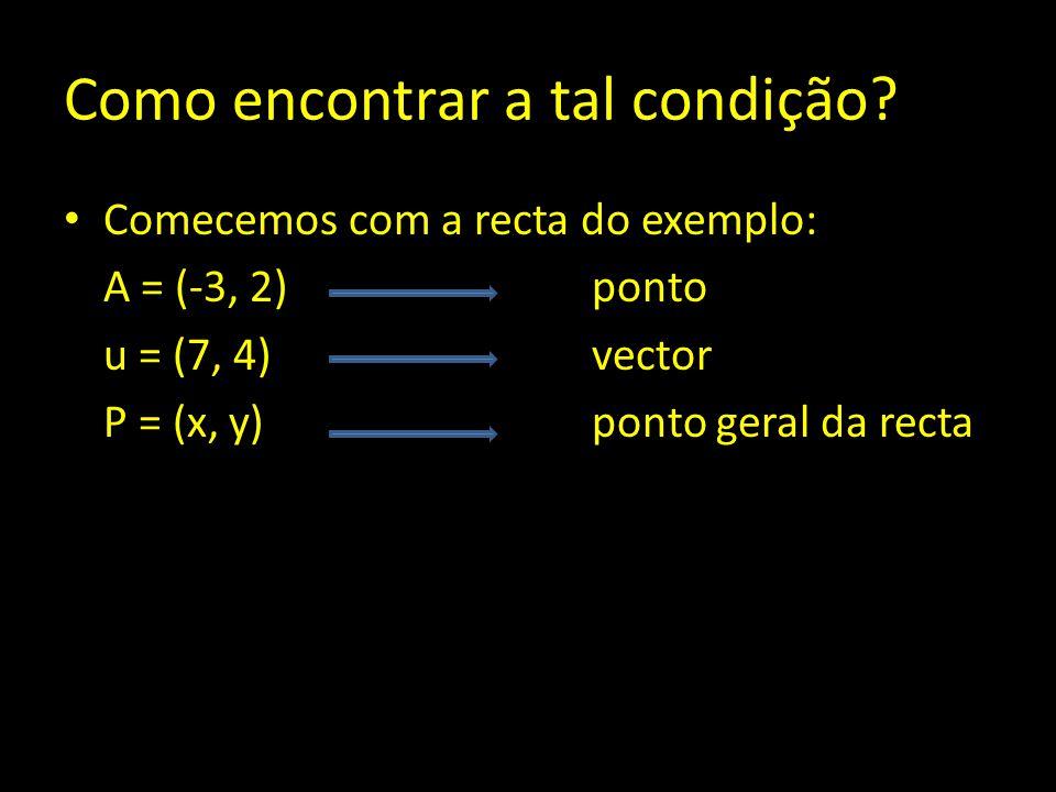 Como encontrar a tal condição? Comecemos com a recta do exemplo: A = (-3, 2) ponto u = (7, 4)vector P = (x, y) ponto geral da recta