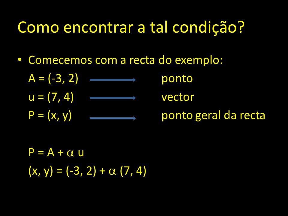 Como encontrar a tal condição? Comecemos com a recta do exemplo: A = (-3, 2) ponto u = (7, 4)vector P = (x, y) ponto geral da recta P = A +  u (x, y)