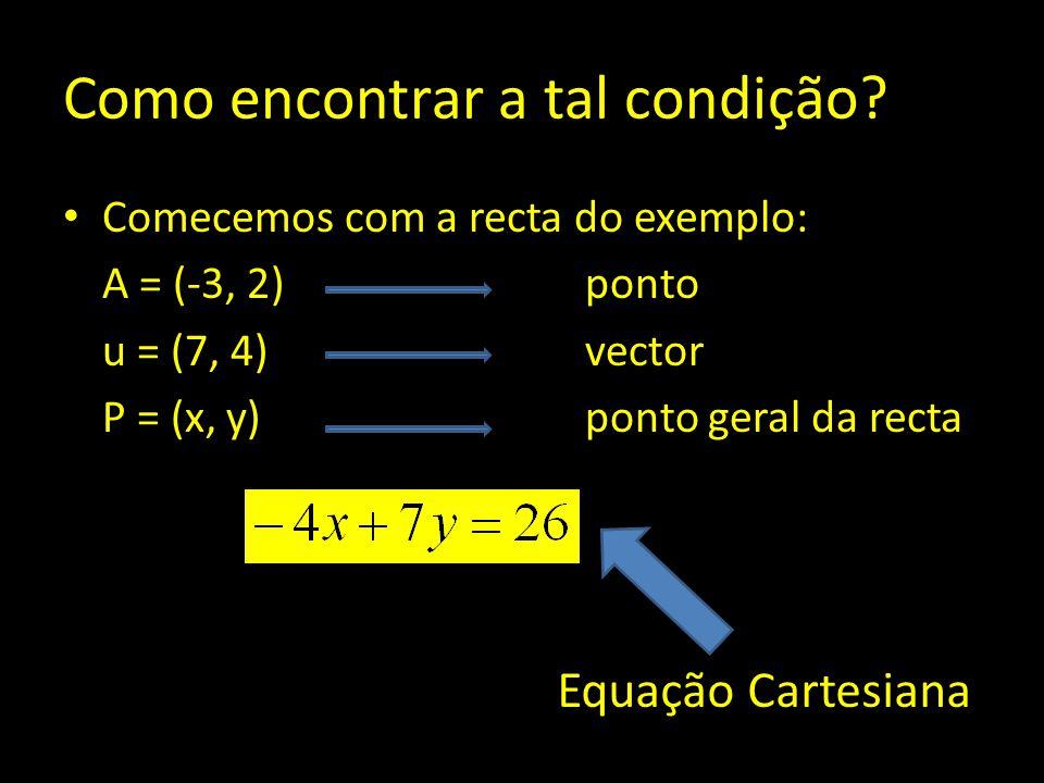 Como encontrar a tal condição? Comecemos com a recta do exemplo: A = (-3, 2) ponto u = (7, 4)vector P = (x, y) ponto geral da recta Equação Cartesiana