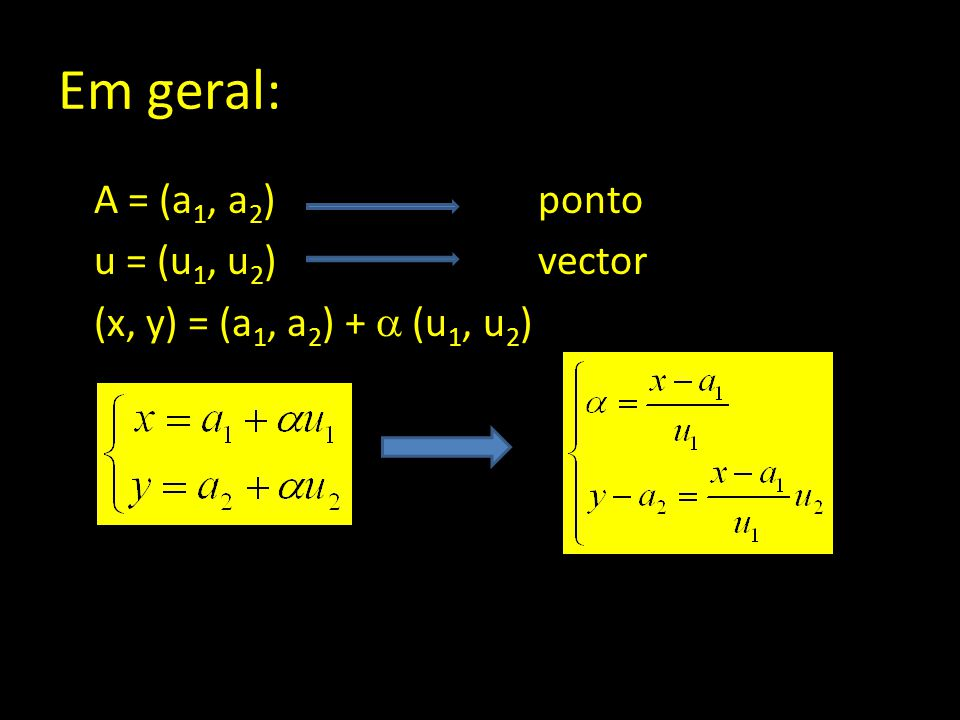 Em geral: A = (a 1, a 2 ) ponto u = (u 1, u 2 )vector (x, y) = (a 1, a 2 ) +  (u 1, u 2 )