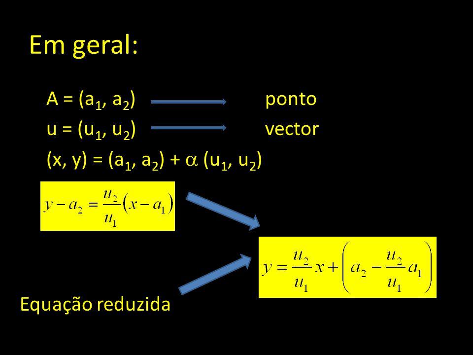 Em geral: A = (a 1, a 2 ) ponto u = (u 1, u 2 )vector (x, y) = (a 1, a 2 ) +  (u 1, u 2 ) Equação reduzida