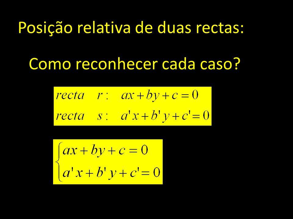 Posição relativa de duas rectas: Como reconhecer cada caso?