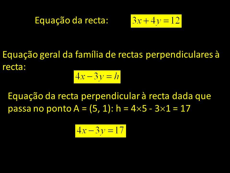 Equação da recta: Equação geral da família de rectas perpendiculares à recta: Equação da recta perpendicular à recta dada que passa no ponto A = (5, 1