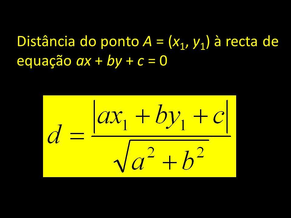 Distância do ponto A = (x 1, y 1 ) à recta de equação ax + by + c = 0